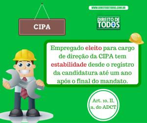 Dirigente da CIPA - Empregado eleito para cargo de direção da CIPA tem estabilidade desde o registro da candidatura até um ano após o final do mandato