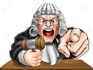 Cartoon angry judge cartoon character screaming and pointing