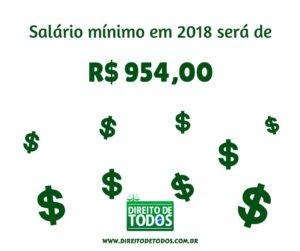 Salário mínimo em 2018 aumenta